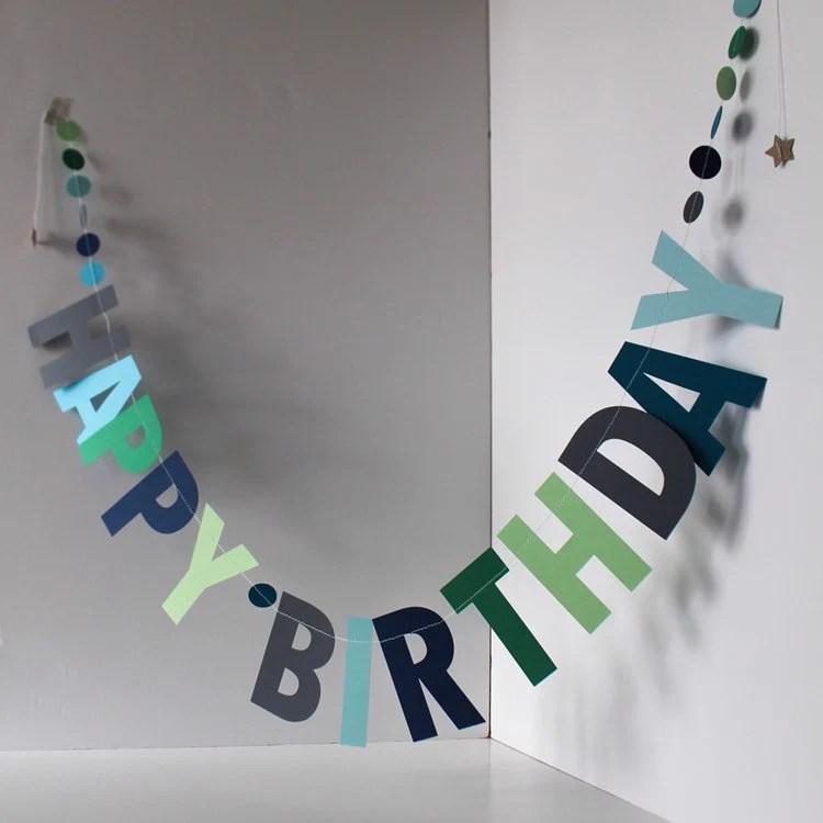 Blue Happy Birthday Garland Personalised Birthday Banner Etsy