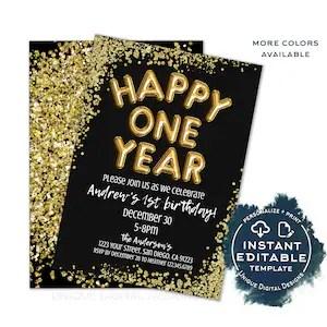 Happy Two Year Birthday Invitation Editable 2020 New Years Etsy