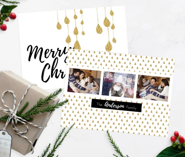 Gold Drop Christmas Greeting Card Black And White Multi Photo Christmas Card Photo Christmas Cards Photoshop Christmas Card Templates