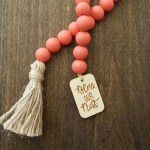 Watermelon Red Wood Bead Garland With Wood Tag And Jute Tassel Jewelry For The Home Farmhouse Beads Bless Our Nest Bead Garland
