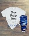 Digital Blank White T Shirt Flat Lay Mockup Business Mock Up Etsy