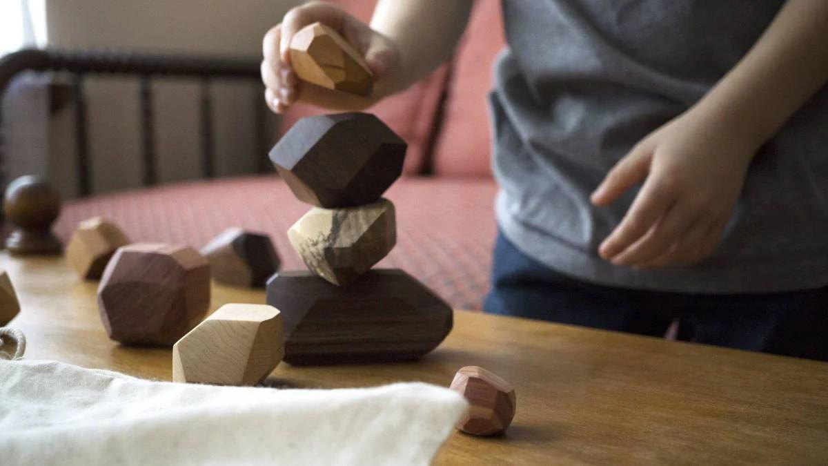 22 piece Tumi Ishi set wooden blocks Wood Stones Baby image 5