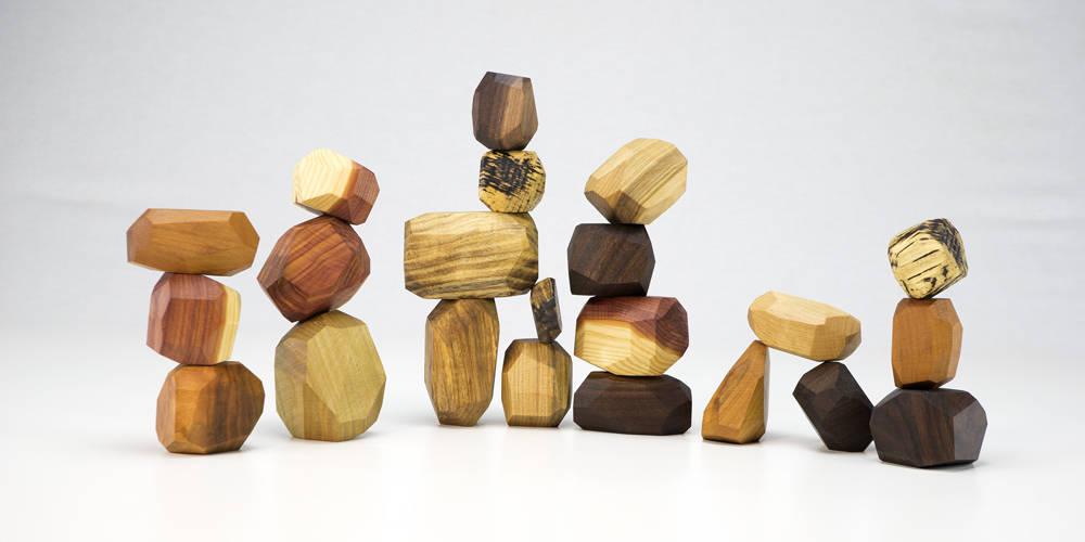22 piece Tumi Ishi set wooden blocks Wood Stones Baby image 9