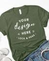 Bella Canvas 3001 Military Green T Shirt Mockup Flat Lay Denim Etsy