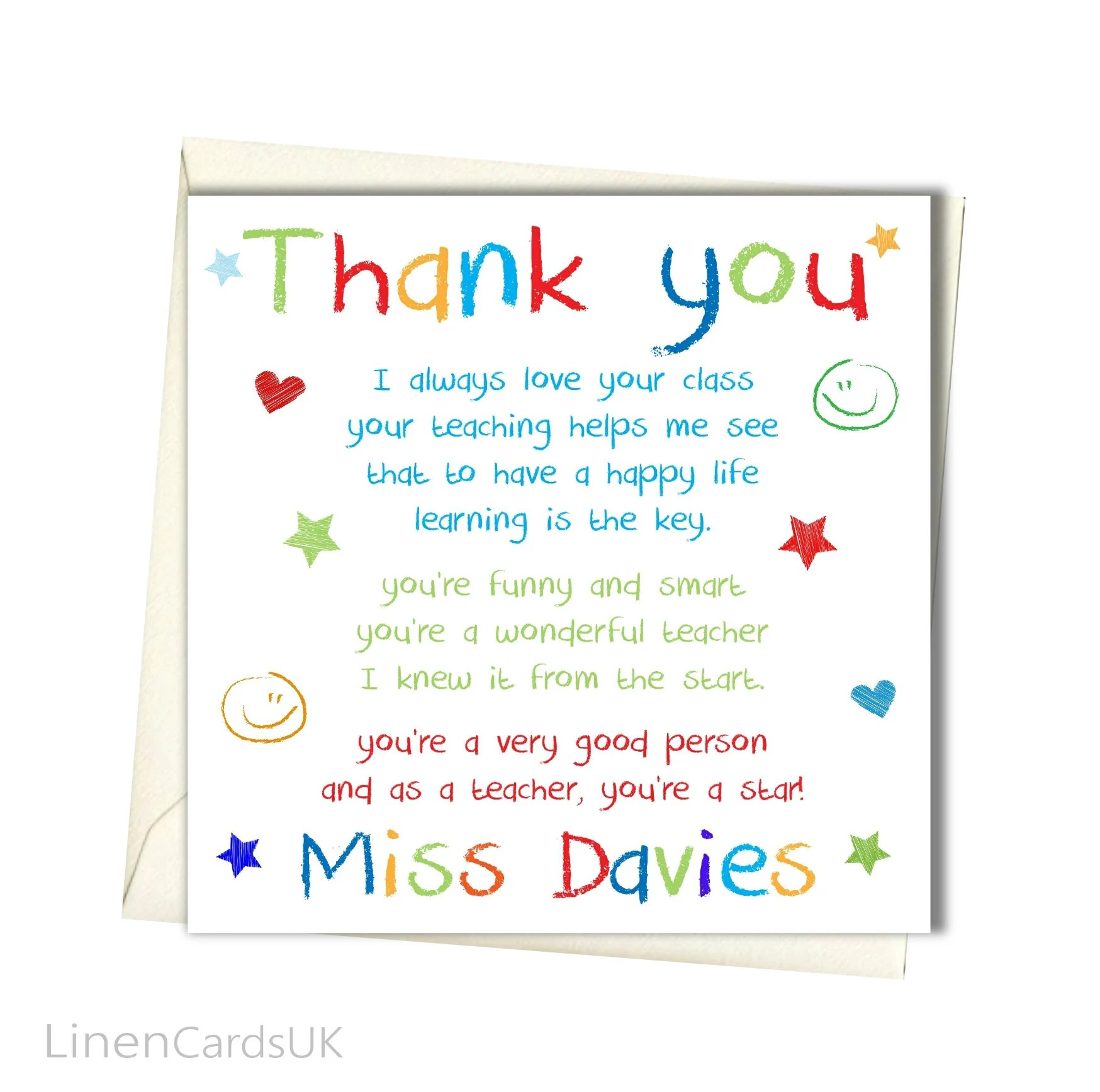 Personalised Teacher Thank You Card Teacher Class