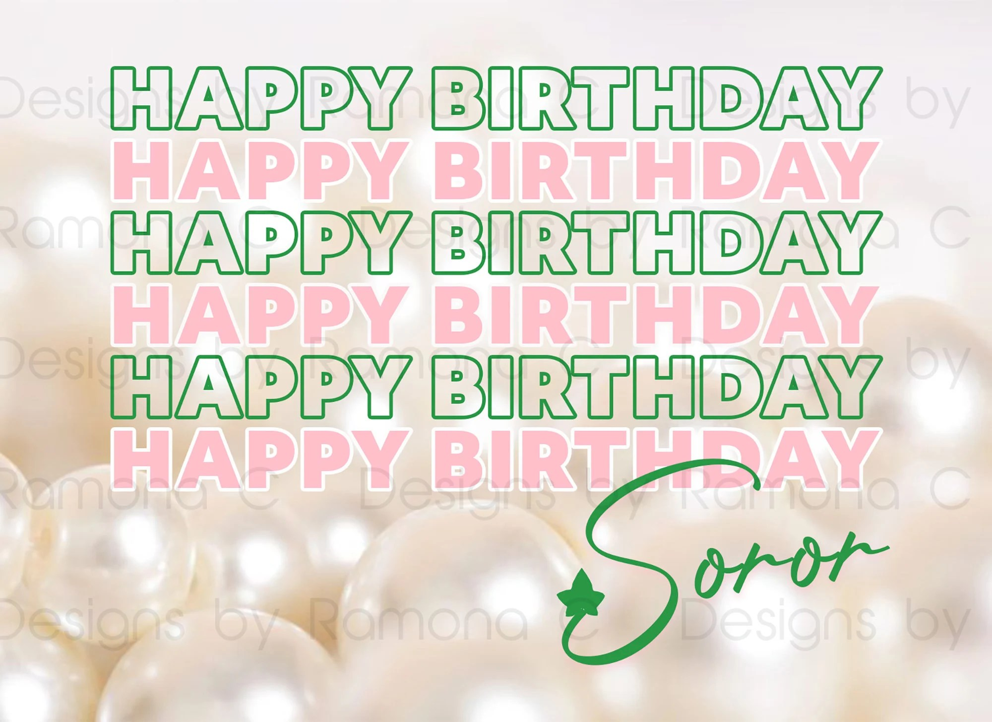 Happy Birthday Soror Pink And Green Card Set 12 Cards And Etsy