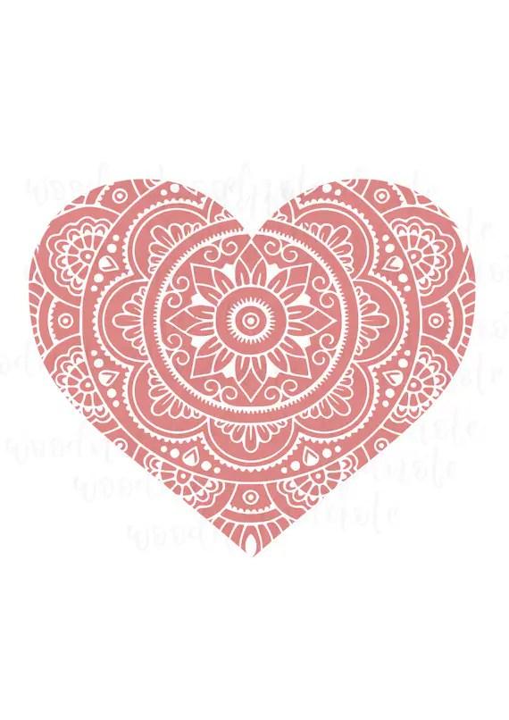Download Mandala Heart SVG Love Zentangle Pink Heart Happy Lover ...