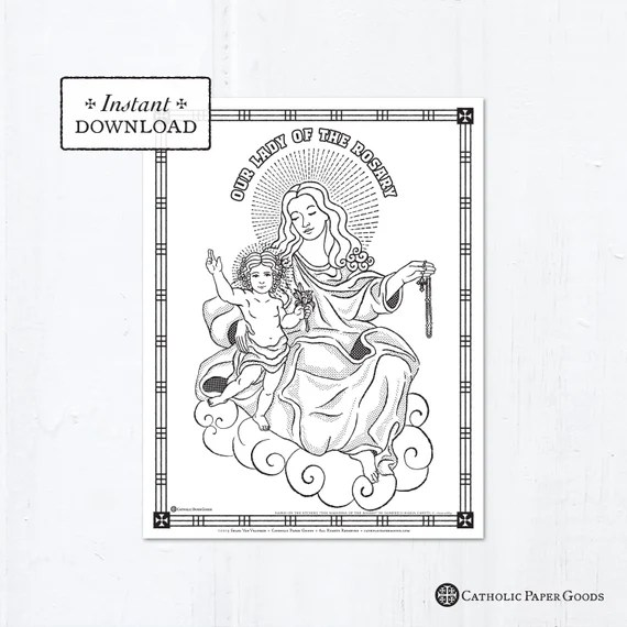 Catholic Coloring Page Our Lady Of The Rosary Catholic Etsy