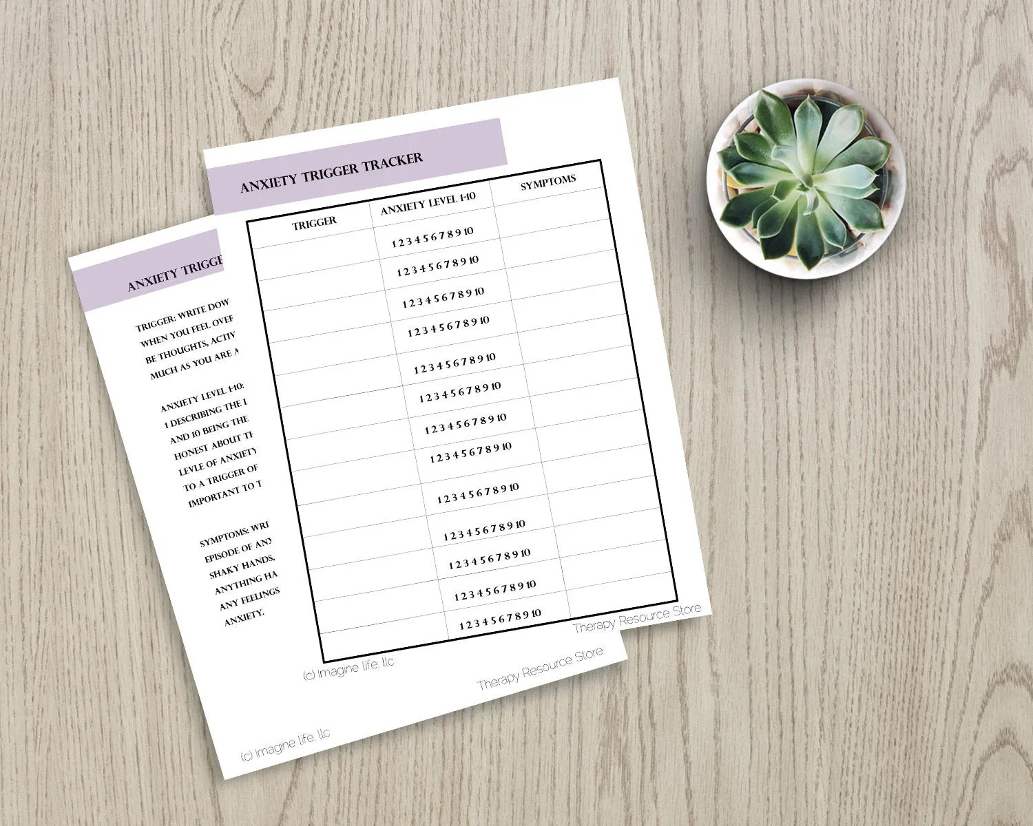 Therapy Worksheet Anxiety Trigger Tracker With