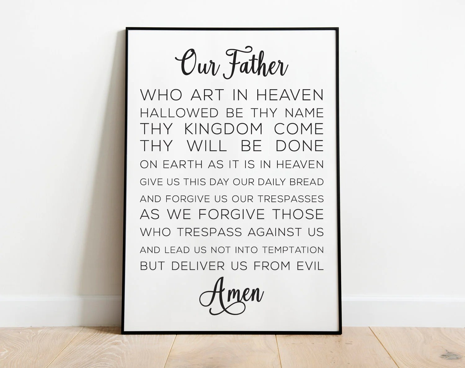 Printable Our Father Prayer Instant Download Wall Art