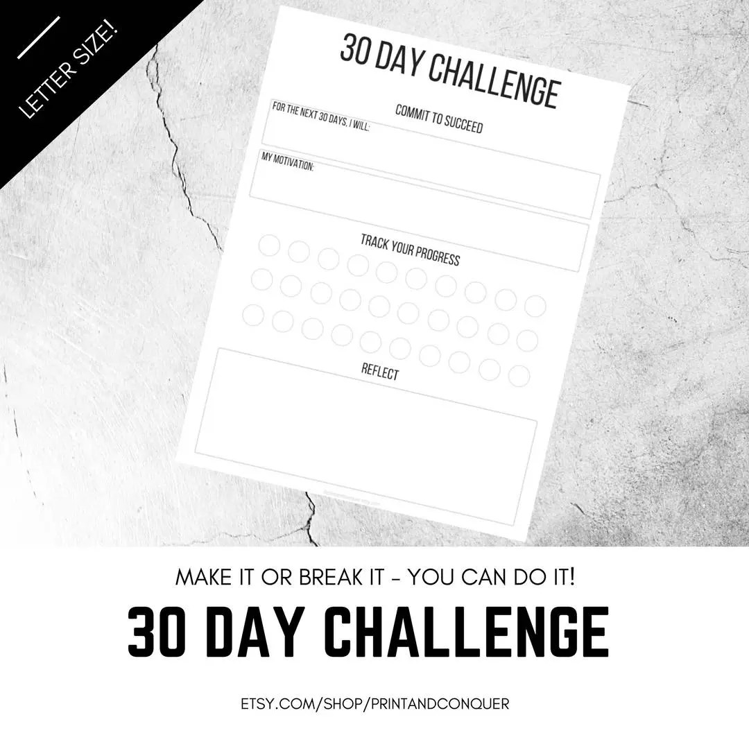 30 Day Challenge Printable 30 Day Challenge Worksheet