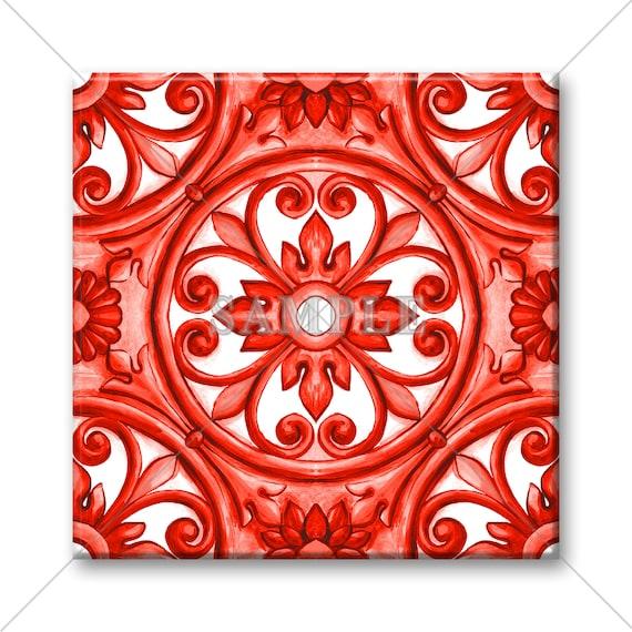 unique ceramic accent tile red decorative italian tile design etsy