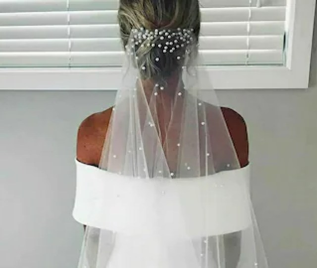 Wedding Veil With Pearls Veil Veils Long Veil Fingertip Veil Beaded Veil Pearl Veil Champagne Veil Ivory Veil Wedding White Veil