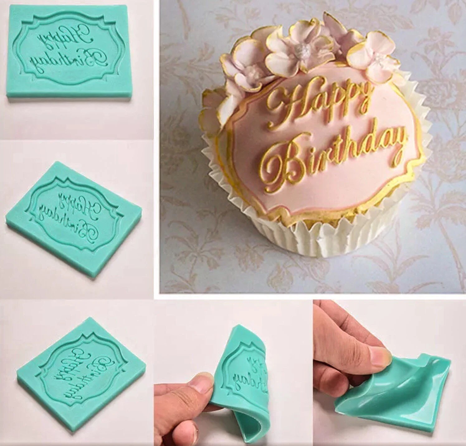 Happy Birthday Long Hand Cursive Script Writing Silicone