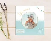 Customizable boy square birth certificate with small feet and party banner