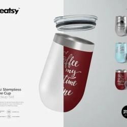 16oz Stemless Wine Cup Mockup Set Tumbler Template Custom Etsy