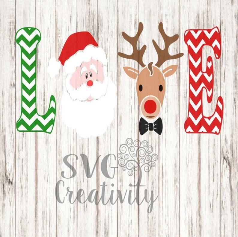Download Christmas Love SVG Love Santa with Reindeer Boy SVG | Etsy