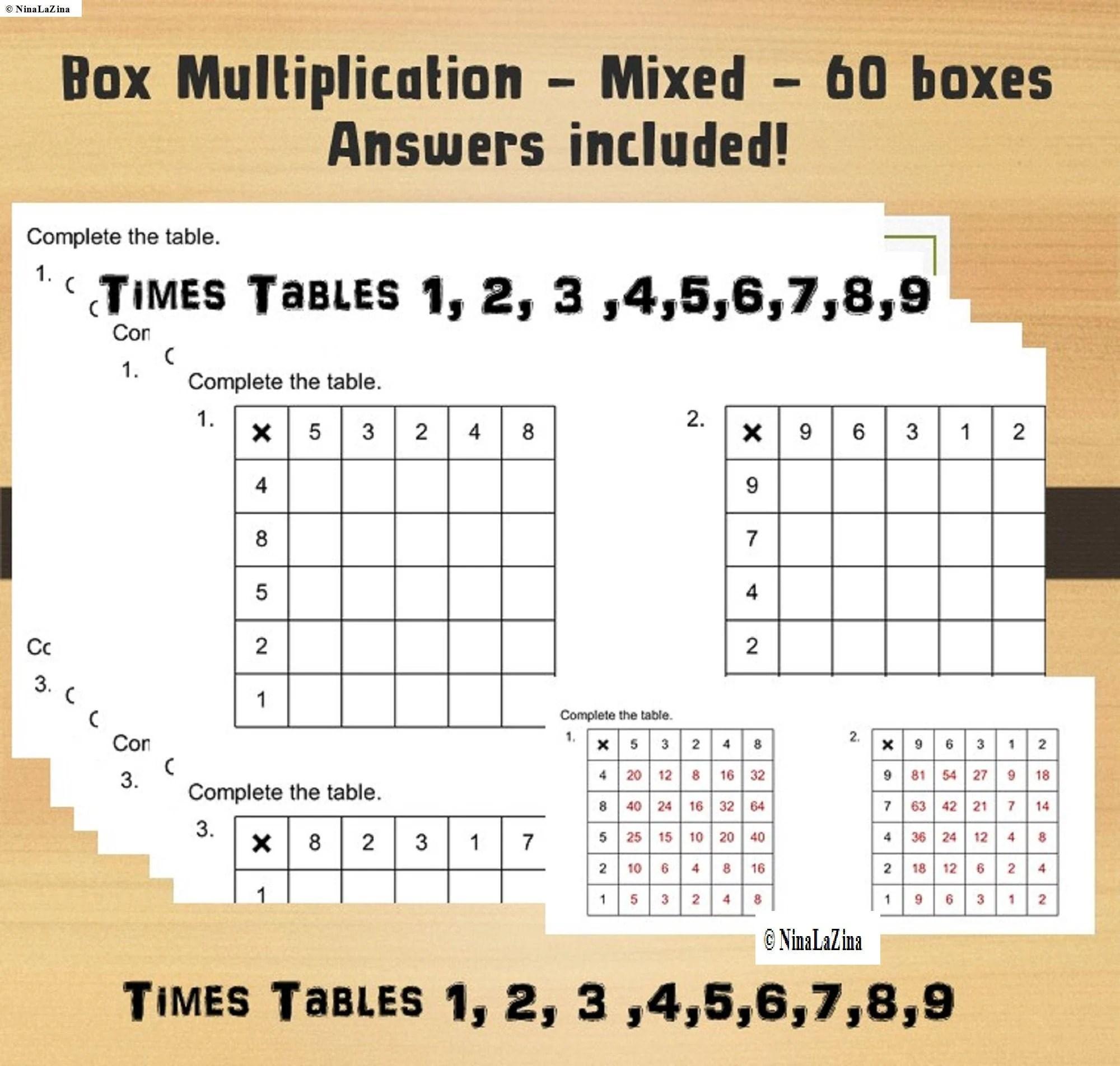 Multiplication Table Printable Worksheet Grid Maths