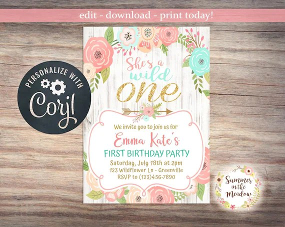 wild one birthday party invitation she s a wild one invitation wild one birthday girl with pink and blue flowers corjl template