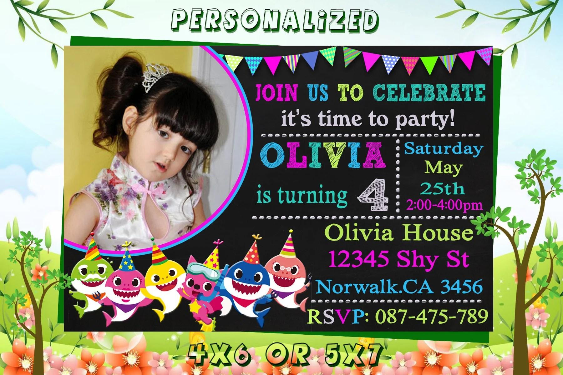 Baby Shark Birthday Invitation Baby Shark Party Baby Shark Invite Baby Shark Invitation Birthday Invitation Invitation Instant Download