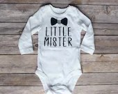 Little Mister, Newborn Baby Outfit, Baby Shower Gift, Take Home Outfit, Baby Brother Bodysuit, Newborn Gift, Pregnancy Announcement