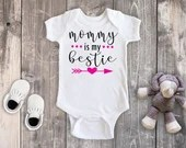 Mommy Is My Bestie Bodysuit, Mommy & Me Shirts, Baby Girl Clothing Tee, Mommy Daughter Shirts