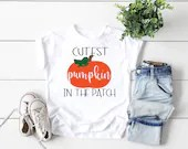 Cutest Pumpkin in the Patch Halloween Shirt, Girl Halloween Shirt, Boy Halloween Bodysuit, Holiday Outfit, 1st Halloween Outfit,