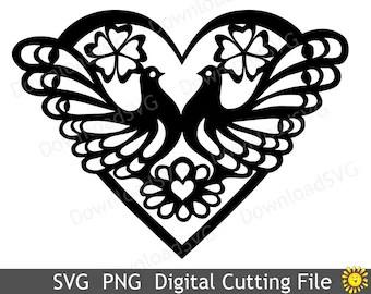 Download SVG cutting files templates Heart Love Mandala Cricut | Etsy