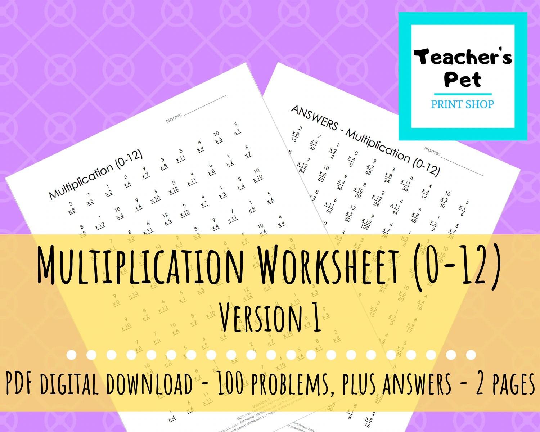 Multiplication Worksheet 0 12 Version 1