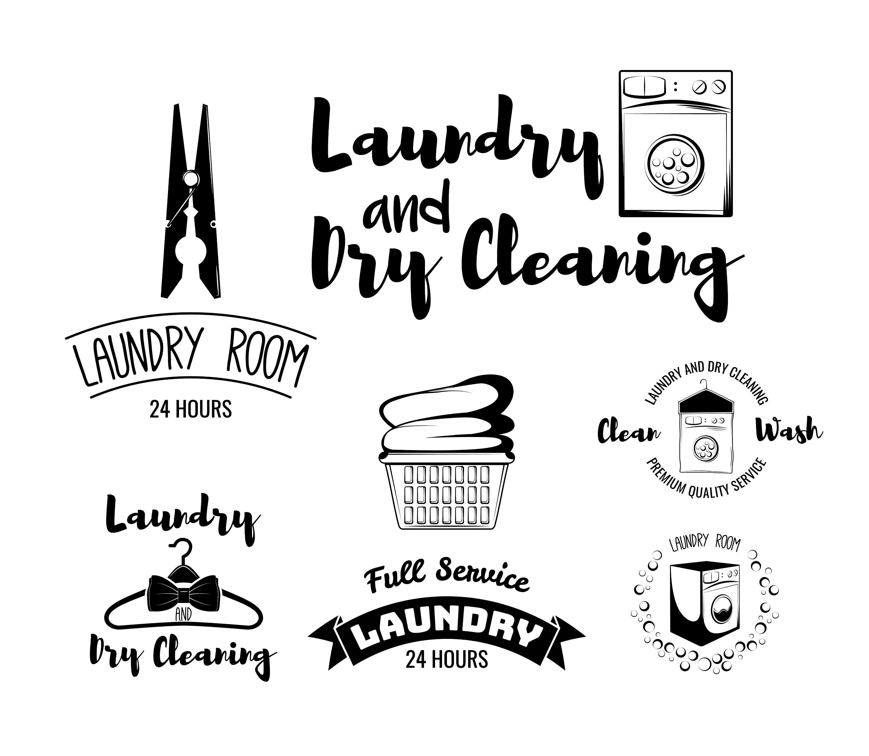 Laundry Room Logo Set Svg Dry Cleaning Emblems Hanger