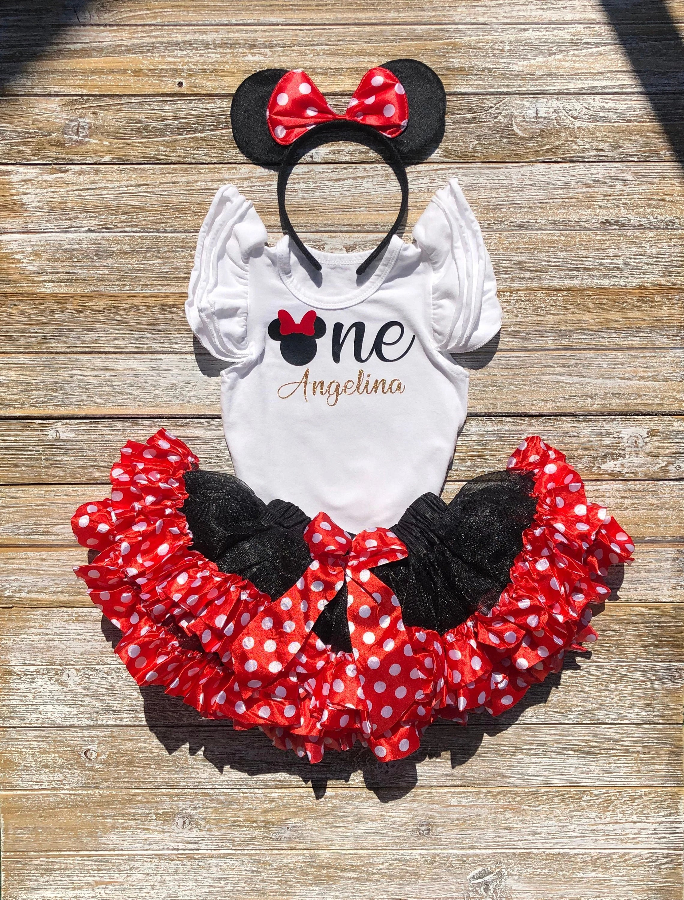 Minnie Mouse 1st Birthday Outfit Minnie Mouse Tutu Red Etsy
