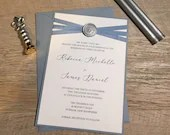 Dusty Blue Wedding Invitation | Modern Invite | Silk Ribbon, Wax Seal | Layered Invitation Suite | Custom Invite | Elegant Dusty Blue Invite