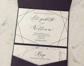 Geometric Wedding Invitation | Modern Geometric Invite | Modern Pocket Invitation Suite | Printed Wedding Invitation Suite | Purple Pocket