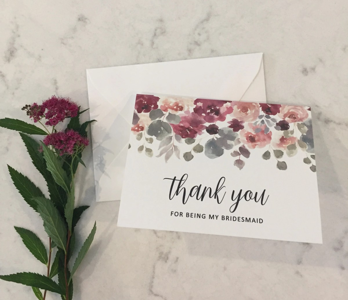 Bridesmaid Thank You Card | Thank You for being my Bridesmaid | Floral Thank You Card | Wedding Thank You | Wedding Card | Bridesmaid Gift