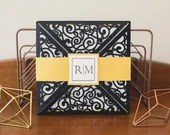 Black and Gold Laser Cut Wedding Invitation | Custom Wedding Invitations | Laser Cut Wedding Invitation | Pocket Invites | Square Invitation