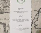 Deckle Edge Wedding Menu   Olive Wreath Crest Menu   Monogram Wedding Menu   Wedding Reception Menu   Handtorn Deckle Edge Paper Menu