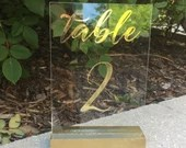 Wedding Table Numbers   Gold Table Numbers   Acrylic   Gold Vinyl   Table Signs   Acrylic Table Numbers   Wedding Decor   Clear Table Number