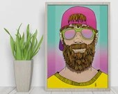 That Beard Dematerialized Poster - Printable art poster - Digital Illustration