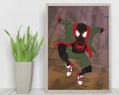 Ultimate Spider Man Into the Spiderverse Dematerialized Poster - Printable art poster - Digital illustration