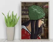 The Girl in the Hat Dematerialized Poster - Printable art poster - Digital Illustration