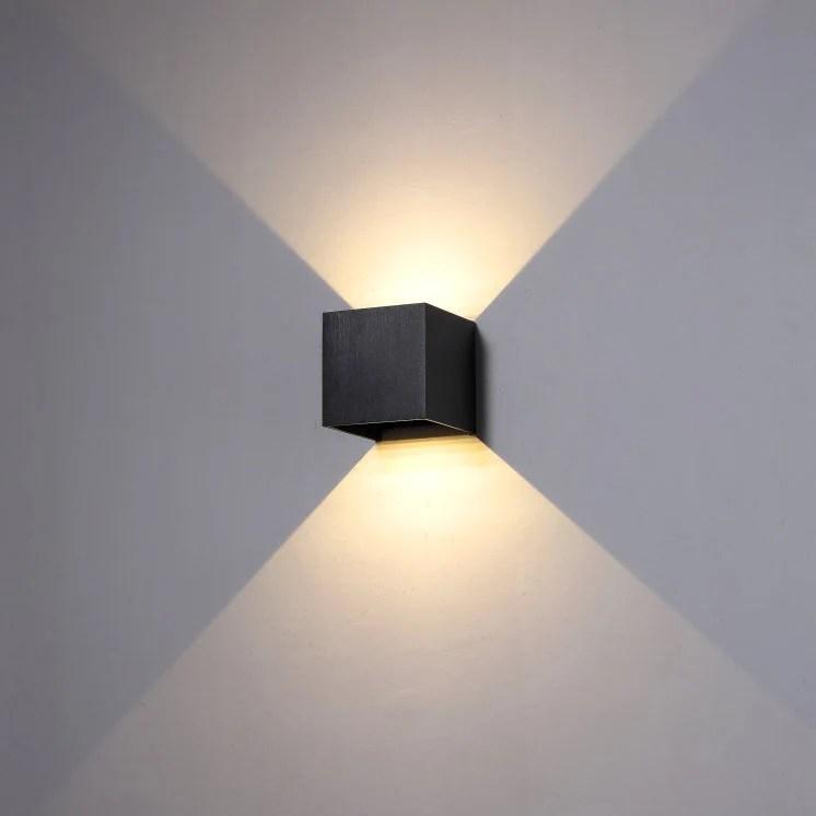 6 watt black finish up and down outdoor led wall light modern outside garden wall lighting feature exterior decorative wall light