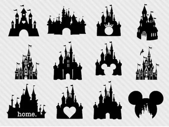 Disney Castle Svg Bundle Disney Castle Clipart Castle Svg Etsy