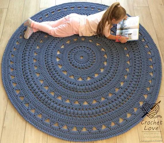 crochet rug tapis napperon tapis rond tapis rond au crochet tapis tapis de bebes tapis tricote a la main tapis de crochet de couleur de jeans