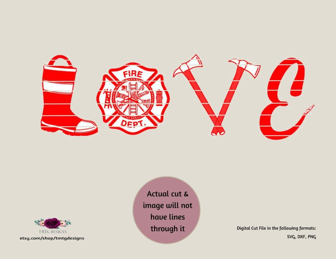 Download Firefighter svg Firefighter Love svg love svg svg DFX   Etsy