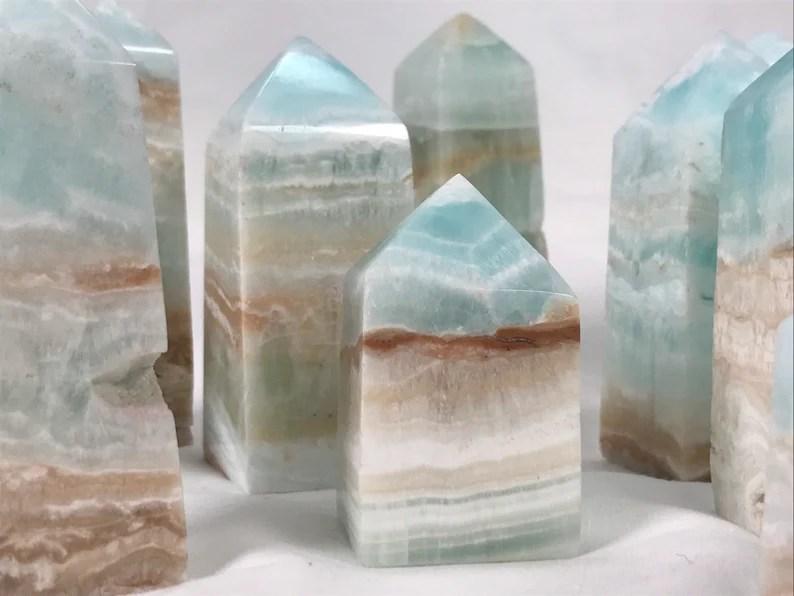 Caribbean Calcite points / blue ocean crystal / aragonite / image 0
