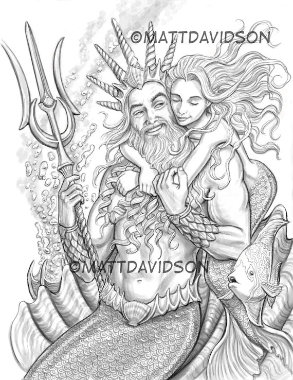 Adult Coloring Page Little Mermaid Coloring Page Fantasy Etsy