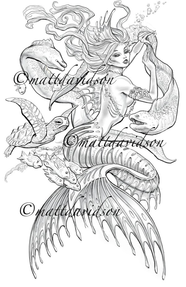 mermaid coloring pages for adults # 32