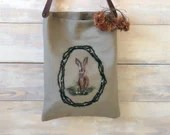Shopper bag with leather handles, minimalist - BUNNY - decorated canvas tote bag