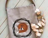 Shopper bag with leather handles, minimalist - FOX- tote bag canvas decorated