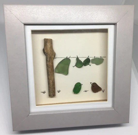 Sea glass Art Picture Love Birds under Holiday washing